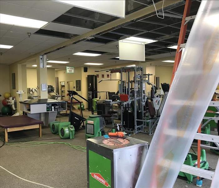 SERVPRO drying a water loss in a gym