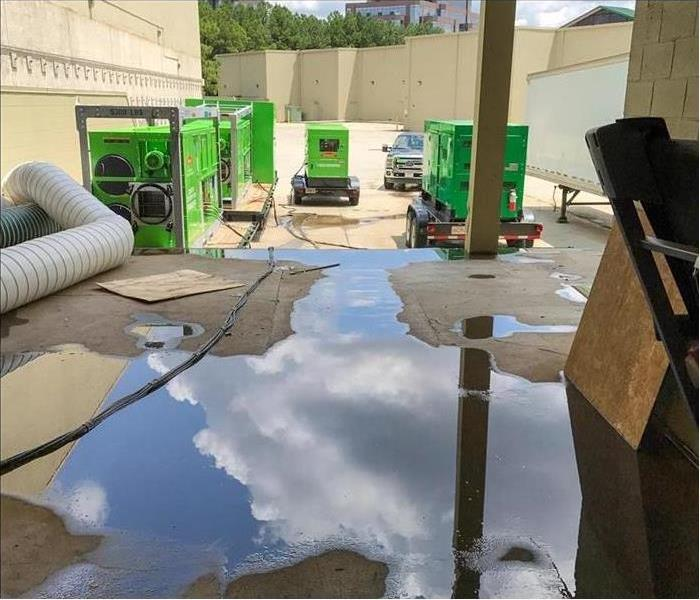 standing water, three commercial generators, Concept: commercial water restoration services